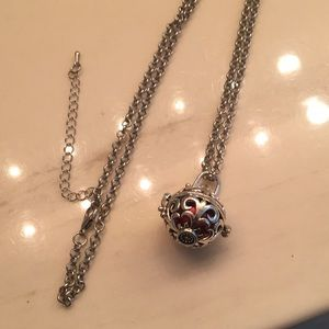 Jewelry - Red Harmony bell ball on 24in' silver chain